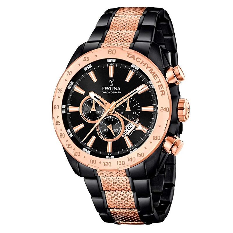 Montre Chronographe pour Hommes FESTINA F16888 Bracelet Gold-Noir