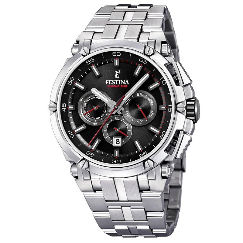 Montre Chronographe pour Hommes FESTINA Chrono Bike F20327 Bracelet Argente avec Bracelet d'échange en Cuir