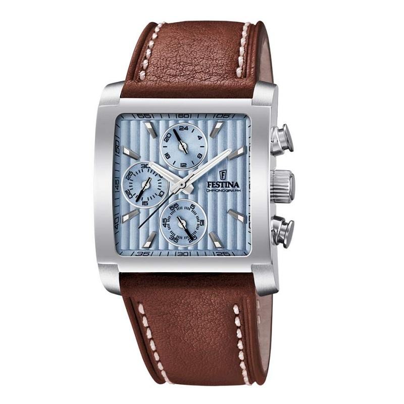 Montre chronographe pour homme FESTINA F20424 Bracelet en cuir Marron