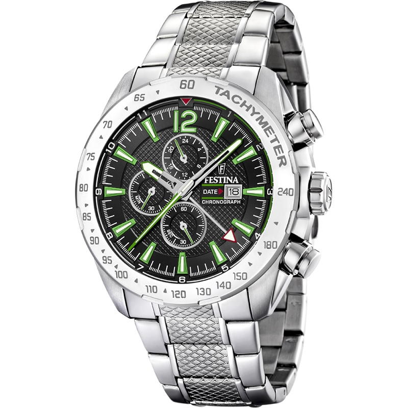 Montre Chronographe pour Hommes FESTINA F20439/6 à lunette Tachymètre 240, Bracelet Argente