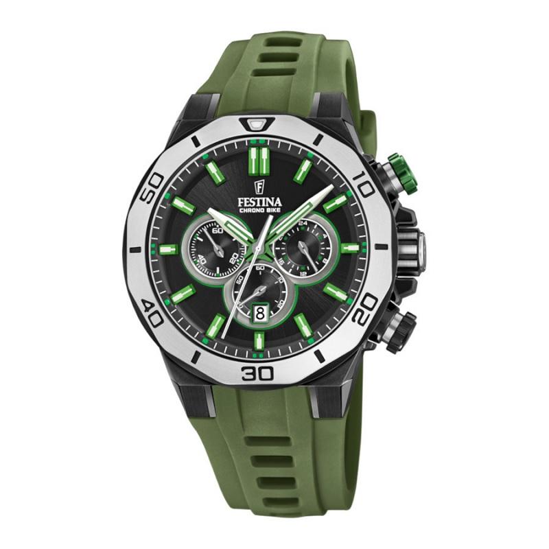 Montre Chronographe pour Hommes FESTINA F20450 Bracelet en silicone Vert