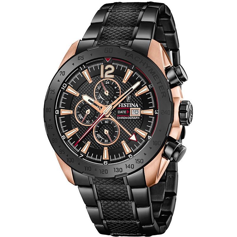 Montre Chronographe pour Hommes FESTINA F20481 Bracelet en Acier inoxydable Noir