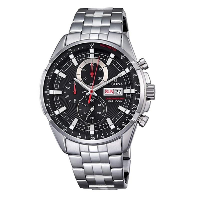 Montre Chronographe pour Hommes FESTINA F6844 à Tachymètre 500, Bracelet Argente