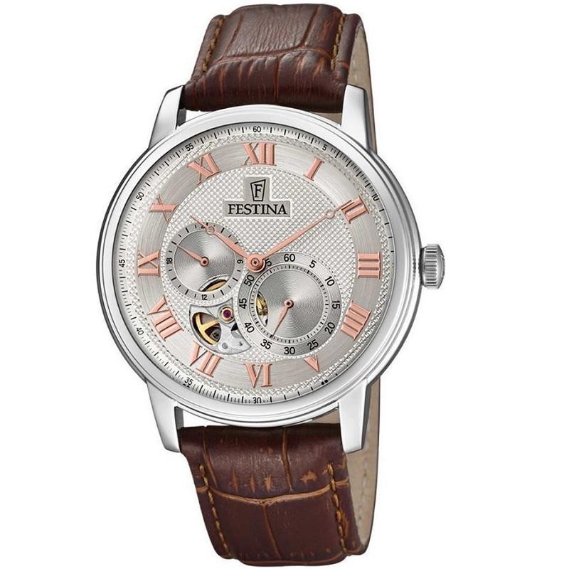 Montre Chronographe pour Hommes FESTINA Retro F6858 Bracelet en cuir Marron