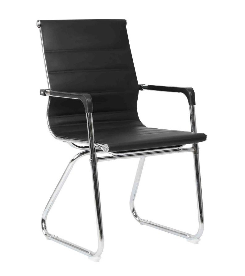 Chaise visiteur TXW-2023 en Simili cuir Noir avec accoudoir, Piétement Chromé