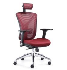 Chaise directionnelle filet siège en tissus rouge avec repose tête, série Y