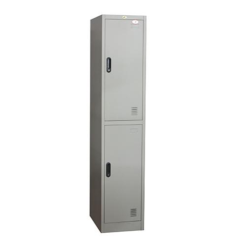 Armoire Vestiaire métallique 2 compartiments , 0.38 x 0.45 x 1.85 m Gris