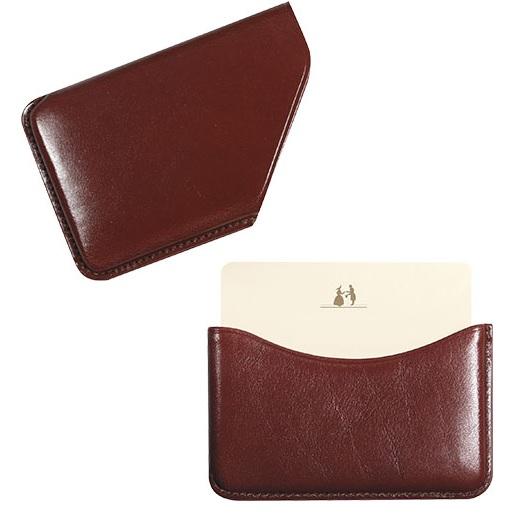 Porte cartes de visite en cuir marron