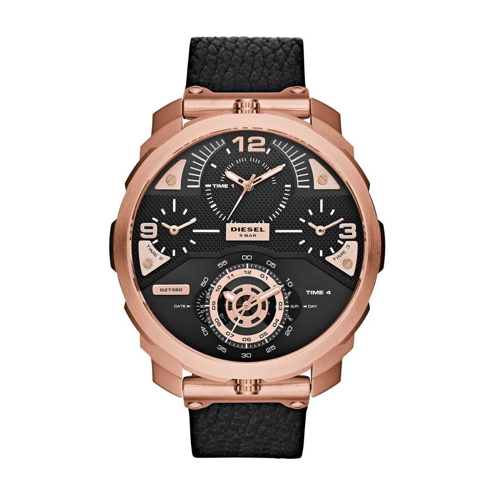 Montre pour homme DIESEL Machinus DZ7380 Chronographe Bracelet en Cuir Noir