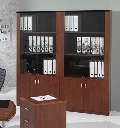 Bibliothèque STYLUS 0.9 x 0.43 x 0.20m + 2 portes vitées + 2 portes en bois