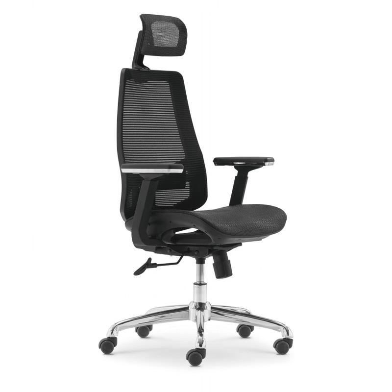 Chaise directionnelle filet RAINBOW siège en tissus Noir avec accoudoir repose tête piétement Chromé