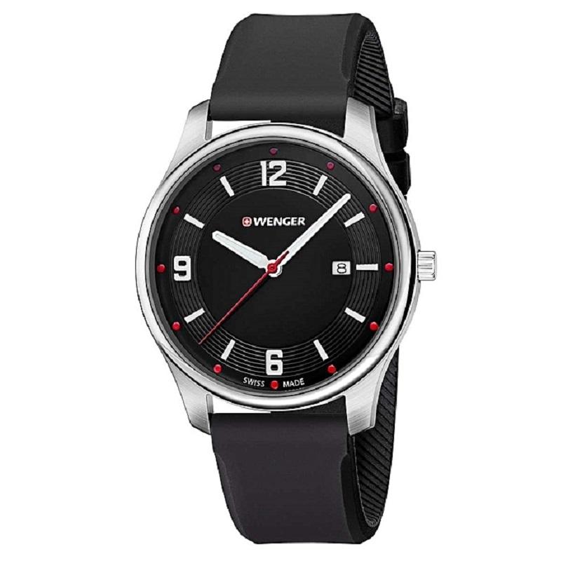 Montre pour homme WENGER (City Active) Diam 43  bracelet en silicone noir  avec un cadran noir mat