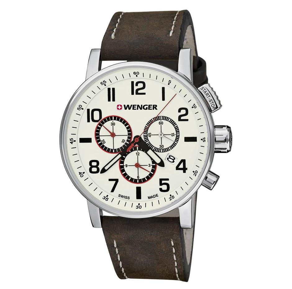 Montre pour homme WENGER (Attitude Chrono) Diam 43  bracelet en cuir marron  avec un cadran blanc superluminova