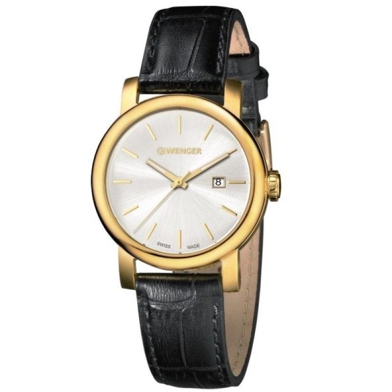 Montre pour homme WENGER (Urban Vintag) Diam 41  bracelet en  cuir Noir avec un cadran blanc argenté