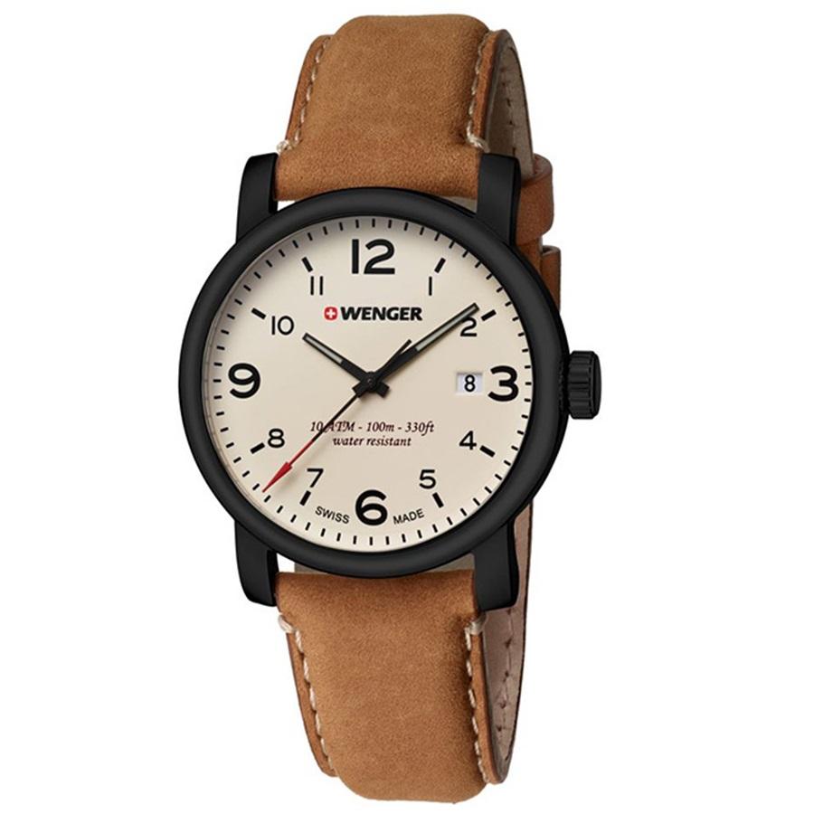 Montre pour homme WENGER (Urban Metropolitan) Diam 41  bracelet en  cuir  Marron  avec un cadran beige