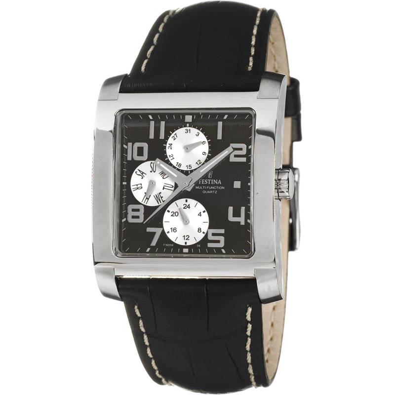 Montre chronographe pour homme FESTINA 16235 Bracelet en cuir Noir