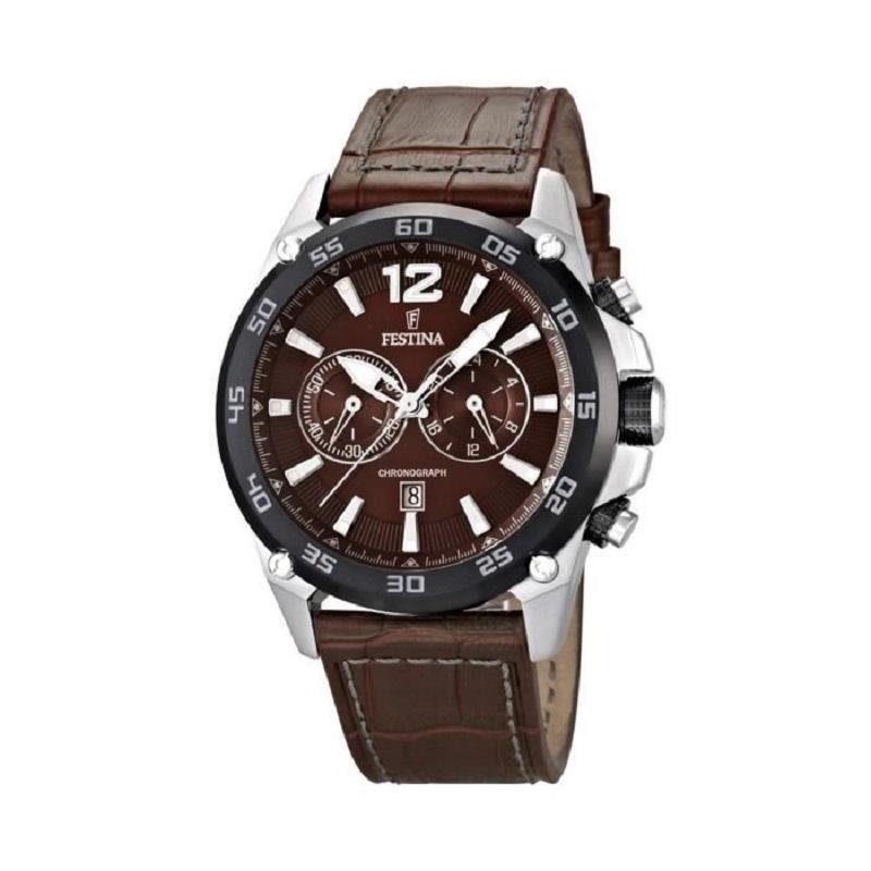 Montre chronographe pour homme FESTINA F16673 Bracelet en cuir Marron foncé