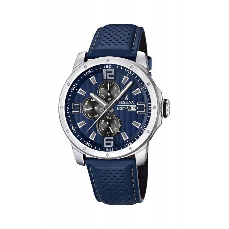 Montre chronographe pour Hommes FESTINA F16760 Bracelet en cuir Bleu