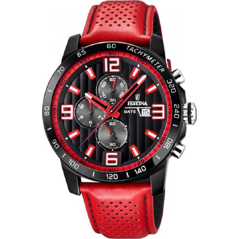 Montre chronographe pour Hommes FESTINA F20339 Bracelet en cuir Rouge