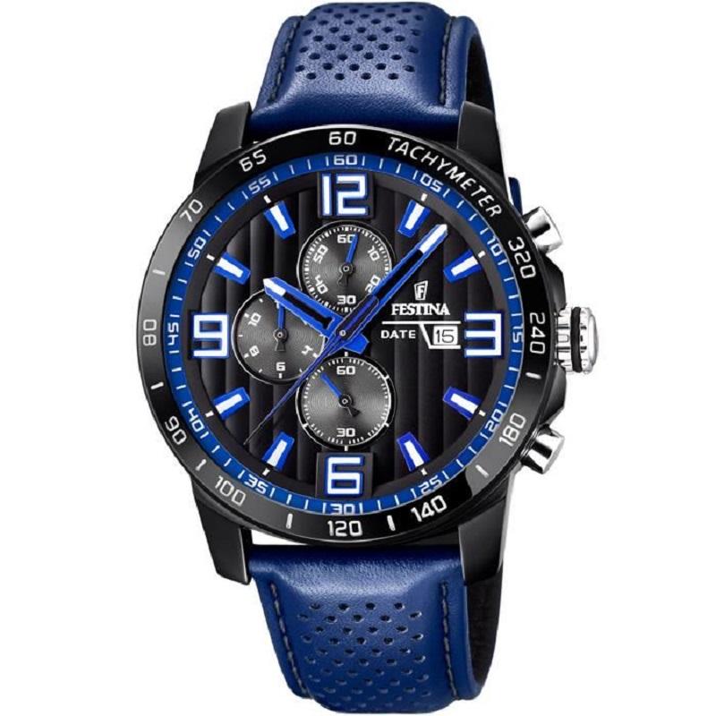 Montre chronographe pour Hommes FESTINA F20339 Bracelet en cuir Bleu
