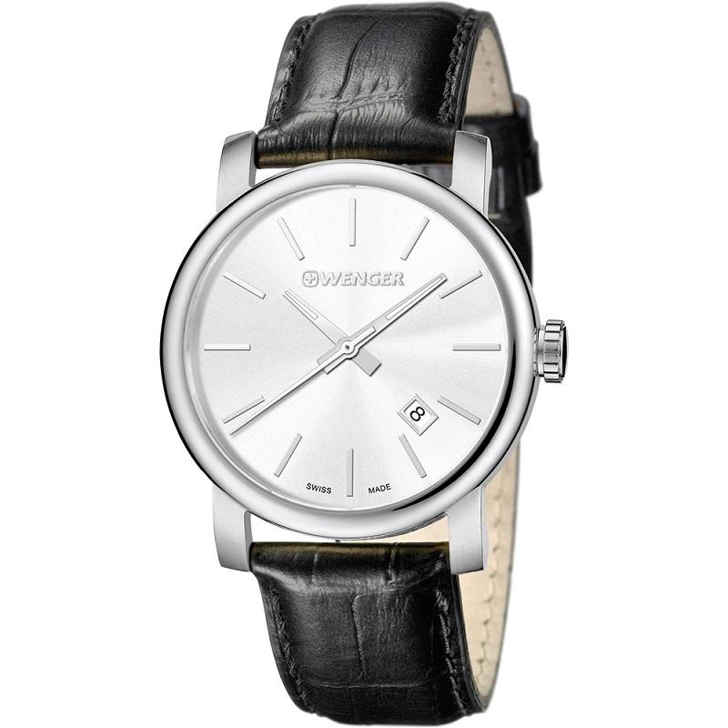 Montre pour homme WENGER (Urban Vintage) Diam 41  bracelet en  cuir Noir avec un cadran blanc argenté