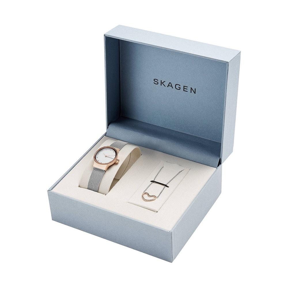 Montre pour Femme SKAGEN SKW1101 Bracelet maille Argenté avec Collier Katrine cœur Argent/Or-rose