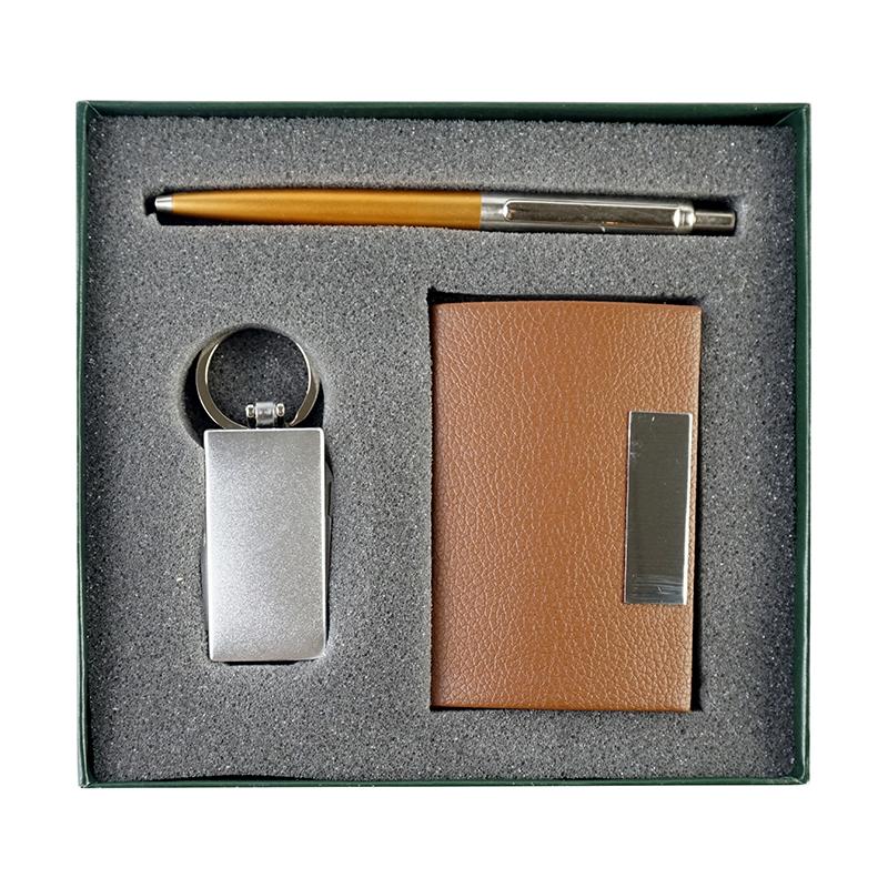 Coffret 3 pièce (stylo Métal Orange, porte carte visite Marron, Porte clé Multi fonction)