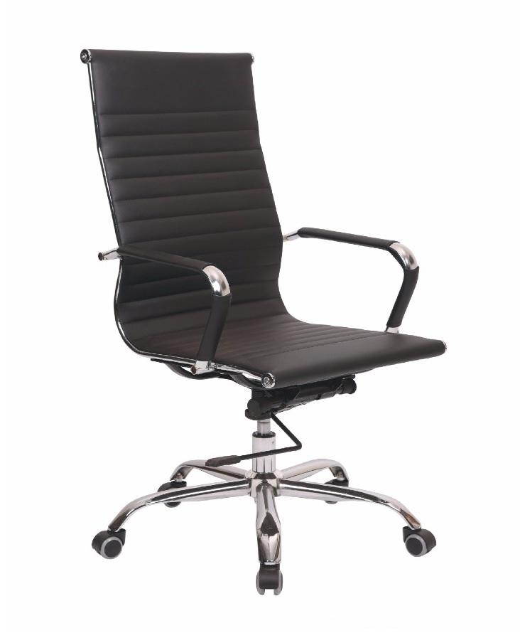 Chaise opérateur TXW-2008 en Simili cuir Noir avec accoudoir, Piétement Chromé