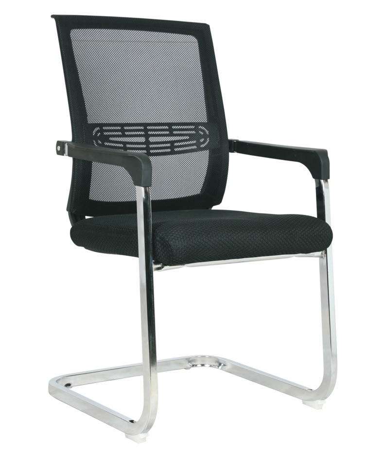Chaise visiteur filet TXW-5002 siège en tissu Noir avec accoudoir, Piétement Chromé