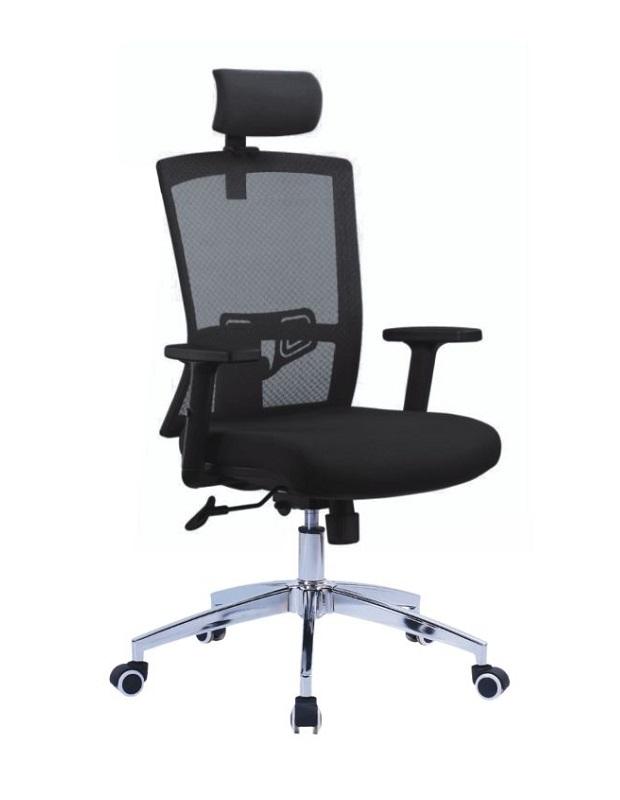 Chaise directionnelle filet vert siège en tissus noir avec repose tête piétement métallique