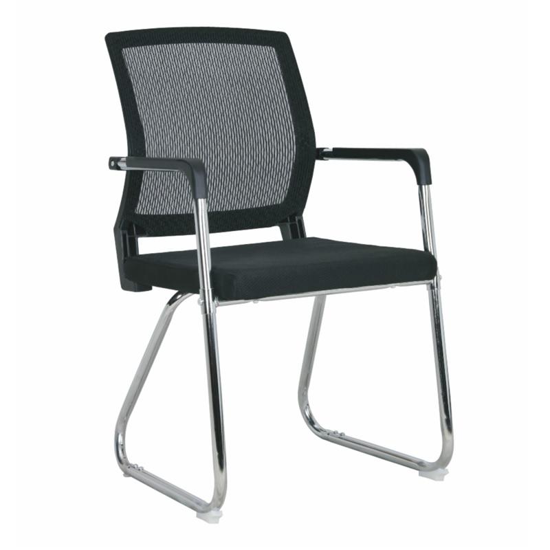 Chaise visiteur filet TXW-5009 siège en tissu Noir avec accoudoir, Piétement Chromé