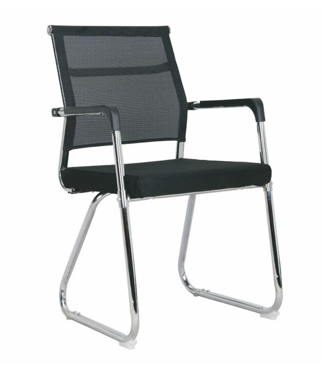 Chaise visiteur filet TXW-5019 siège en tissu Noir avec accoudoir, Piétement Chromé