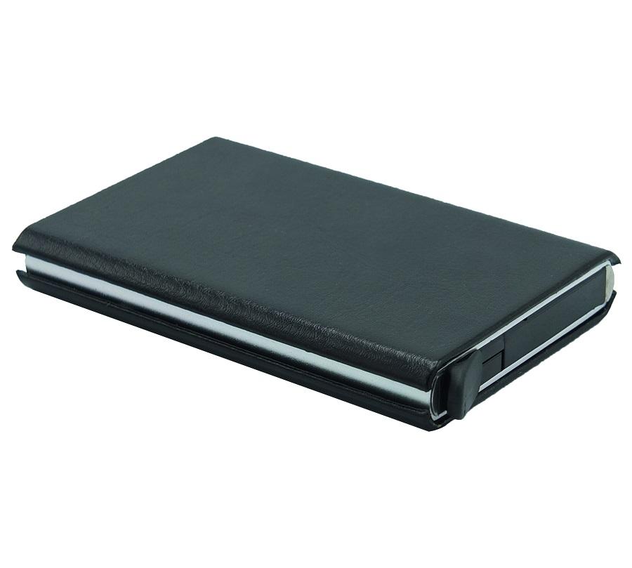 Porte carte magnétique à mécanisme 141-7 Métallique coque en simili cuir Noir