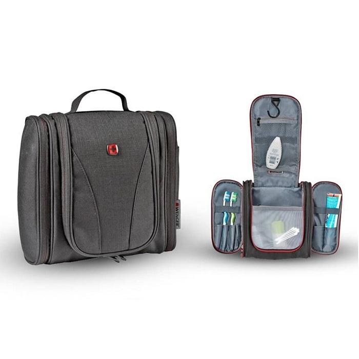 Trousse de Toilette SWISSGEAR WENGER Multi-pochettes, Water-Resistant, crochet de suspension, 6L, Noir
