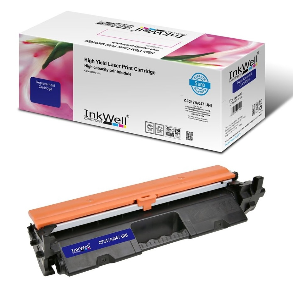 Toner INKWELL compatible 17A Noir pour HP LaserJet Pro M102 Series/ M102a/ M102w/ MFP M130 Series/ MFP M130a/ MFP M130fn/ MFP M130fw/ MFP M130nw 1600 Pages