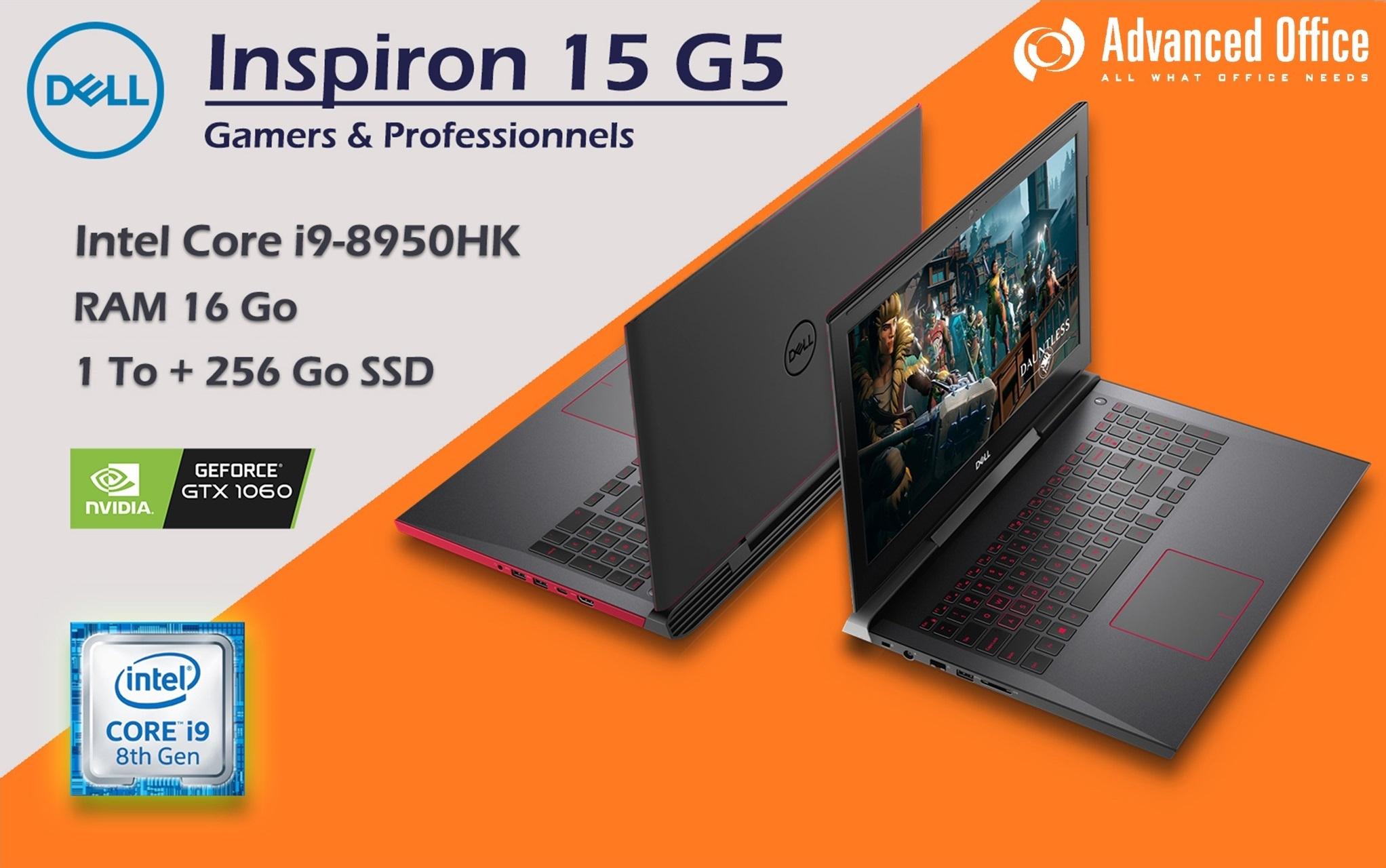 Laptop Professionnel & Gamer DELL Inspiron 15 G5 i9-8950HK, 16Go de RAM, 1To + 256Go SSD, Nvidia GeForce GTX1060