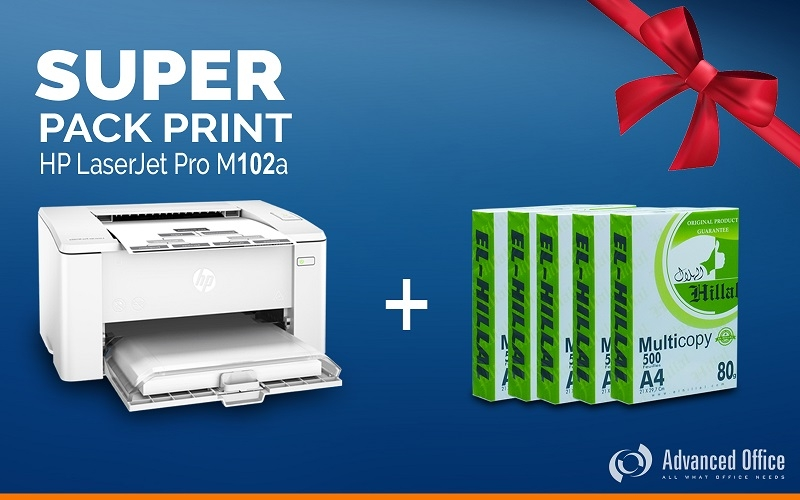 Imprimante HP LaserJet M102a + 5 Rames EL-HILLAL